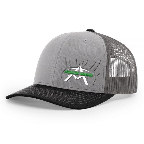 Mountain ambush grey charcoal black logo trucker hat - Black and grey house ...